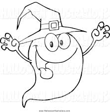 clip art of a black and white spooky ghost wearing a witch hat by