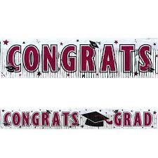 maroon graduation fringed metallic congrats grad banner 5ft