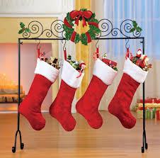 decorating chic metal christmas stocking hanger with faux wreath