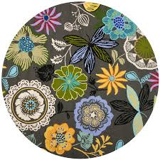 shop safavieh four seasons round gray floral indoor outdoor woven