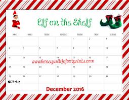free printable planner calendar 2016 free printable elf on the shelf planning calendar idea checklist