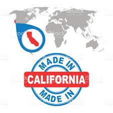 made in california america usa stamp world map with red country