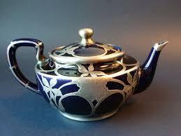 antique vtg lenox sterling silver overlay cobalt blue