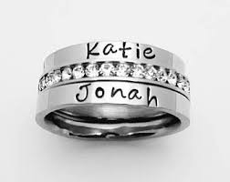 engraved stackable mothers rings stackable name rings etsy