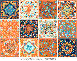 set ornaments ceramic tiles abstract pattern stock vector