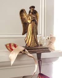 decorating angel christmas stocking holders for mantle in brass