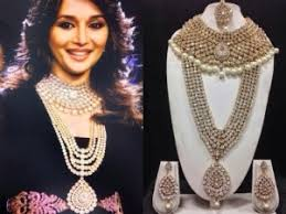 bridal jewellery images moti madhuri dixit bridal jewelry set in white with pearls