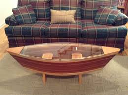 5ft redwood and cherry canoe coffee table removable glass top for