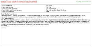job covering letter samples crane crew supervisor cover letter