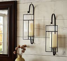 Candle Wall Sconces Wrought Iron Paned Glass Wall Candle Sconce Pottery Barn
