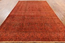 traditional vintage orange overdyed 8x12 hand knotted oriental