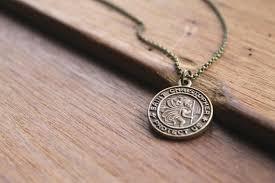 catholic necklace rayna st christopher brass pendant necklace catholic jewelry