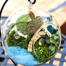 diy micro landscape plant glass hanging ball with iron rack home