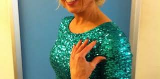jayne torvill green sequin dress on dancing on ice spotted tv