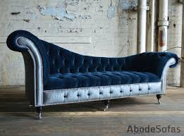Blue Velvet Chesterfield Sofa by Bespoke Chesterfield Chaise Lounge Sofa Commissioned By Interiors