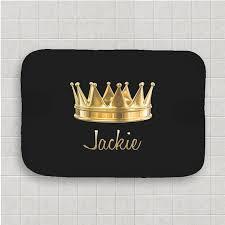 Black Bathroom Rug Personalized Black Bath Mat Gold Royal Crown Bath Rug Home