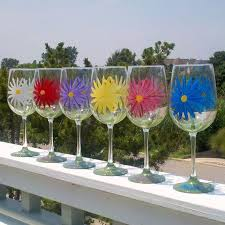 daisy hand painted wine gl
