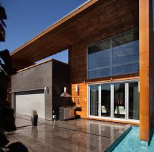 architecture backyard modern house design with black stone wall