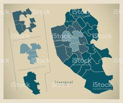 Liverpool England Map by Modern City Map Liverpool Complete Borough Overview Illustration