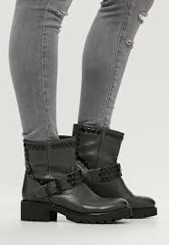 ankle high motorcycle boots grey buckle detail ankle biker boots missguided