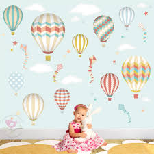 Girls Bedroom Artwork Air Balloon Wall Decal Also Featuring Kites And Star Baby Wall