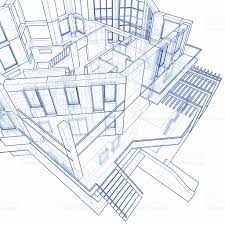 house blueprint 3d technical concept draw stock photo 91171930