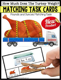 matching measurement turkey task cards for thanksgiving or fall work
