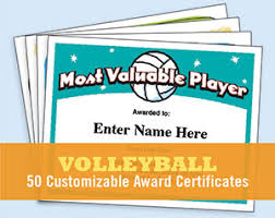 volleyball certificate templates printable customizable awards