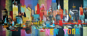 new york city skyline abstract painting