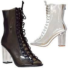 ebay womens ankle boots size 9 womens lace up peep toe transparent lucite ankle booties clear