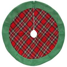 24 and green plaid tree skirt with green felt