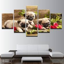 pug home decor 5 panels modern home decor hd spray canvas oil paintings cute pug