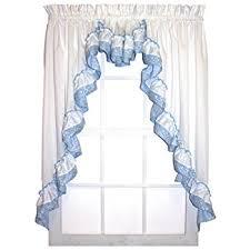 3 Piece Curtain Rod Amazon Com Stephanie Country Style Ruffle 3 Piece Swag Curtains