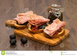 cuisine schmidt bayonne crostini with parma ham stock photo image of food olives