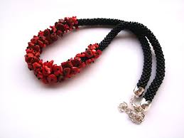 bead rope necklace images Bead crocheted rope necklace with red coral gemstone beads on luulla