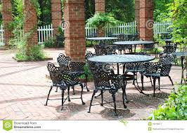 Patio Wrought Iron Furniture by Wrought Iron Furniture In Airy Courtyard Royalty Free Stock