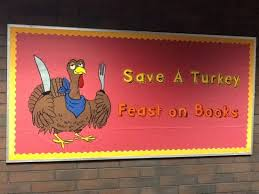 thanks giving library bulleton boards turkey holding a fork and