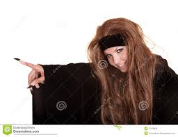 witch costume hairstyles witch in black costume and long hair point royalty free stock