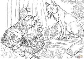 birds and fox from henny penny coloring page free printable