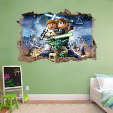 lego star wars wall decals ebay lego star wars smashed wall decal removable graphic sticker mural