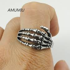 skull finger rings images Amumiu wholesale men jewelry punk gothic finger claw biker rings jpg
