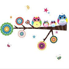 amazon com owl family playing on branches owl wall decal sticker