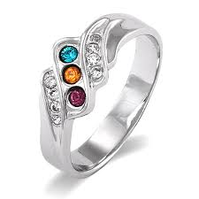 design a mothers ring three swarovski wave design s ring