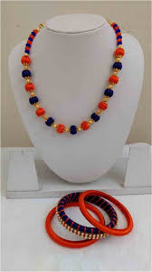 gold orange necklace images Blue and orange beads handmade silk thread jewelry set with gold jpg