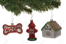 themed ornaments on a tree white stock photo