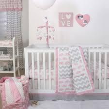Elephant Nursery Bedding Sets by Pink Elephant And Grey Chevron Patchwork 3 Piece Crib Bedding Set