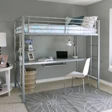 Loft Bed Frame With Desk Amazon Com Walker Edison Twin Metal Loft Bed With Workstation