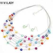 drop beads necklace images Vivilady fashion crystal shell beads jewelry sets women femme jpg