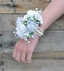Prom Wristlets Wedding Or Prom Corsage Silk Rose And Baby Breath Corsage On A