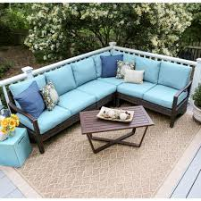 Patio Furniture Sectional Sets - blue outdoor sectionals outdoor lounge furniture the home depot